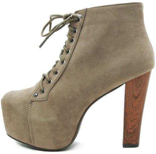 Kayla Shoes© Plateau Stiefeletten mit Absatz in Holz Optik (37, Khaki)