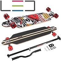 Longboard Skateboard MARONAD drop through Race Cruiser ABEC-11 Skateboard 104x24 cm Streetsurfer patinar FUN, Modell Streetsurfer - Sattelite mit LED Leuchtrollen + MARONAD STICK