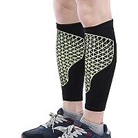Shuzhen,Paar Knee Compression Sleeves Leg Protector Verband Guard Support Wrap Pad Brace Sport Ausrüstung(Color:SCHWARZ UND GRÜN,Size:L)
