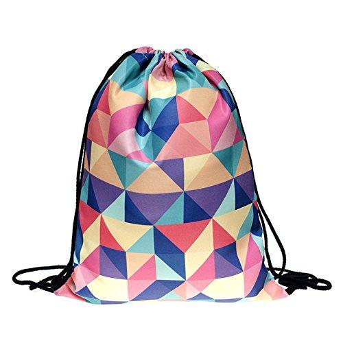 Imagen de emoji bolsa con cordón, searchall equipo de entrenamiento saco de gimnasio drawstring  saco para las niñas soft polyester gym sackpack bolsa de cordón bolsa de deporte para los adolescentes emoji stuff, geometry 2