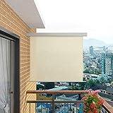 vidaXL Seitenmarkise 150x200cm Creme Sonnenschutz Sichtschutz Windschutz