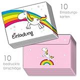 10 Einhorn Einladungskarten zum Kindergeburtstag