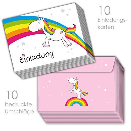 skarten zum Kindergeburtstag Regenbogen Einhorn inklusive 10 passenden rosa Umschlägen / Einladungen zum Geburtstag Einhorn Einhornparty ()