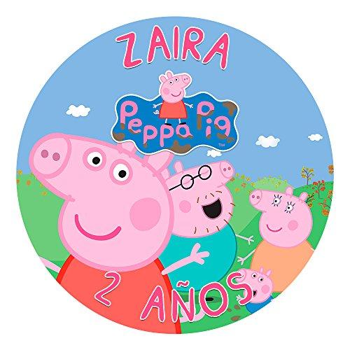 OBLEA de Papel de azúcar Personalizada, 19 cm, diseño de Peppa Pig...