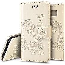 Ukayfe Custodia Case Cover per Galaxy S8, 3D Design Modello Slim Folio Protectiva PU Leather Portafoglio Cover con Sottile Morbido TPU Interno Case Copertura per Samsung Galaxy S8-Oro 1#