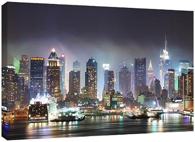 MOOL 32 x 22-inch New York City Manhattan Skyline Canvas Wall Art Print, Multi-Colour - inexpensive UK light store.
