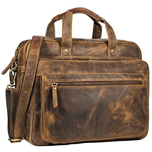 STILORD \'Walt\' Vintage Aktentasche Leder Herren Damen Lehrertasche XL groß Büro Business Umhängetasche für 15,6 Zoll Laptop Echt Leder, Farbe:mittel - braun