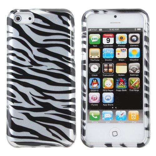 2 en 1 Zebra Stripe Motif Hard Cover Case For iPhone 5C Rose rouge