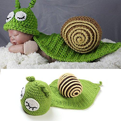 Sunfire Niedliche Schneckenbekleidung für Babies, geeignet für Fototermine, Häkel-/Strick-Kostüm inkl. Hut, Umhang, Kleidung, Farbe grün