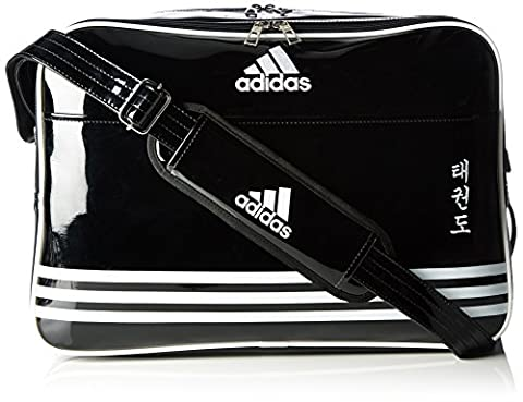 adidas Umhängetasche Shiny Sports Bag PU TKD, Schwarz/Weiß, 50 x 35 x 8 cm, 28 Liter, adiACC100CS2
