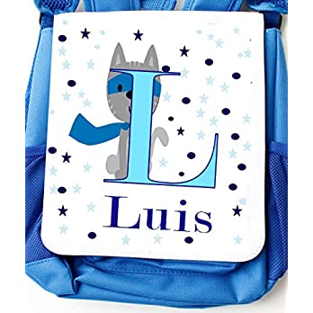 Kindergartentasche blau mit Namen für Jungen mit Brustgurt – Kindergartenrucksack