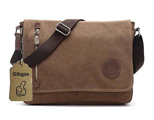 GIBGAS Unisex Vintage Canvas Umhängetasche Schultertasche Messenger Bag für Reise Sport Freizeit (Braun)