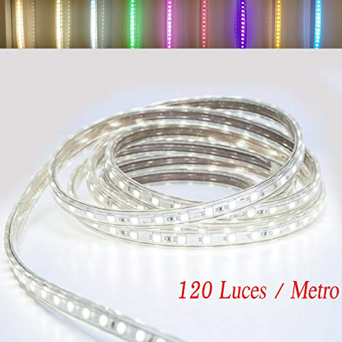 TIRA DE LED MANGUERA LUZ (120 Luces/Metro) 4000K 220V INTERIOR IP65 ALTA ILUMINACION (13 Metros)