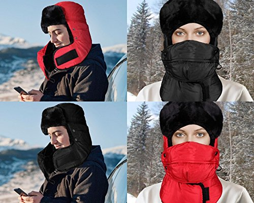ICOLOR Winter Warm Hats Trooper Trapper Hat Russian Style with Ear