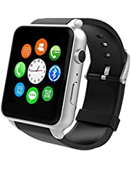 Smartwatch Yarrashop Phone Uhr mit Herzfrequenzmonitor Bluetooth Uhr Support SIM Watch Phone for Android Samsung Galaxy S3/S4/S5/Note2/Note3/Note4 HTC Sony LG Xiaomi Huawei ZUK and iPhone 5/5C/5S/6/6S Silber
