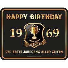 Rahmenlos Plaque décorative en tôle pour Anniversaire 50 Ans Motif Happy  Birthday 50-1969 a84d0928493