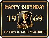 RAHMENLOS Deko Blechschild zum 50. Geburtstag: Happy Birthday 50-1969 - Der Beste Jahrgang Aller Zeiten
