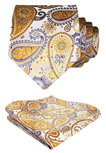 Hisdern Herren Krawatte Hochzeit Blumen Paisley Krawatte & Einstecktuch Set Gelb & Grau