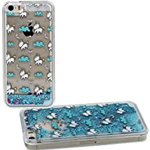 Apple iPhone 5 5S SE Funda Protectora Linda Dibujo animados Unicornio Patrón Case Anti choque Cristal Claro Transparente Rigida Carcasa Líquido Agua Estilo Flotante Polvo del Brillo