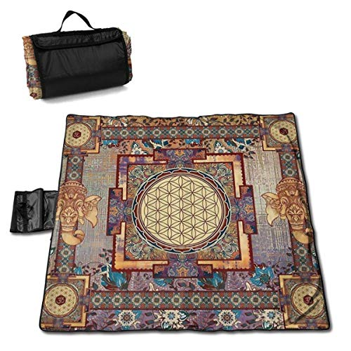 """MZZhuBao Indian Hippie Mandala Extra Large Picnic Blanket 57"""""""" x59 Outdoor Water Resistant Sand-Proof Beach Blanket Mat with Tote Bag for Or Travel"""