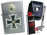 Zippo Eisernes Kreuz Ritterkreuz 1939 + Zippo POUCH mit Zippo Zubehör und L.B Chrome Stabfeuerzeug (mit LOOP Black Pouch)