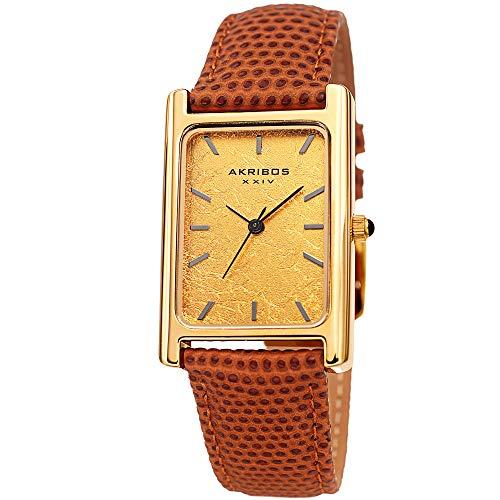Akribos XXIV - Reloj para Hombre, diseño de Lagarto en Relieve, Correa de Piel auténtica, Color Dorado o Platino
