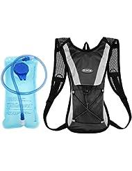 Mochila de Hidratacion 2L Mochila Mochila de Ciclismo hidratación vejiga Agua de 2 litros Ciclismo Escalada Camping Bolsas de Running - Negro