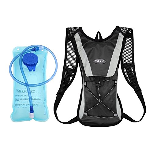 Hydration Backpack, Cycling Pack with 2L 2 Liter Water Bladder Cycling Climbing Camping Running Bags (Black)