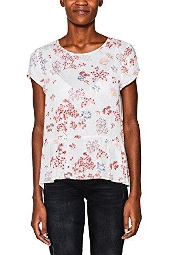 ESPRIT Damen Bluse 018EE1F010, Mehrfarbig (Off White 110), 34 (Paisley Kurzarm Hemden)