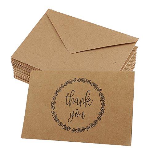 Gazechimp Kraftpapier Dankeskarten - Dankeschön, Danksagung nach Hochzeit, Geburtstag, Konfirmation, 20 Karten mit 20 Umschlägen - braun #7