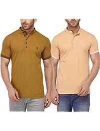 Youthen Cotton Mandarin Collar Khakhi & Skin T-Shirt