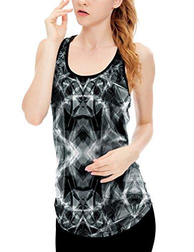 icyZone® Femme Débardeur Running Sans Manche Sport T Shirt Tank Top Lightning