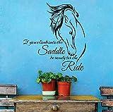 xlei Adesivo Murale Citazione di Cavalli in Vinile Se Sali in Sella Sii Pronto per Il Cavallo da Corsa Adesivo da Parete Decorazione per La Casa59X64 Cm
