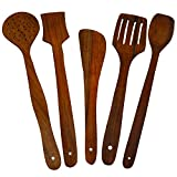 CLASSIC SHOPPE Wooden Serving and Cooking Spoon Kitchen Utensil Set of 5