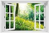 Wallario Acrylglasbild mit Fenster-Illusion: Motiv Pusteblumen im Wald mit einfallenden Sonnenstrahlen - 60 x 90 cm mit Fensterrahmen in Premium-Qualität: Brillante Farben, freischwebende Optik