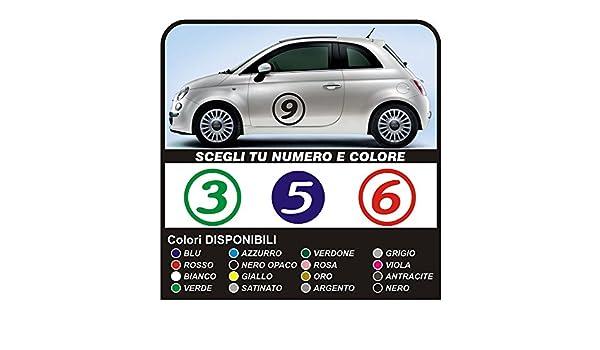 Stickers For Fiat 500 Logo Numbers Door Black Matt Amazon Co Uk