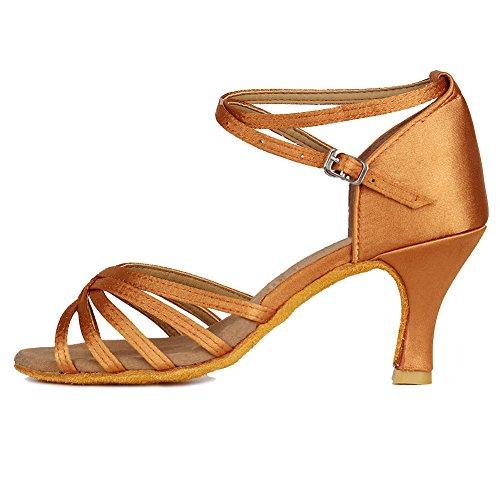 Ykxlm donna & bambine raso scarpe da ballo latino/standard ballroom sala da ballo scarpe,it213-7,marrone,eu 35