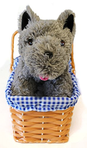 KANSAS GIRL CUTE DOG IN WICKER BASKET FANCY DRESS ACCESSORY - GREY TERRIER PLUSH TOY DOG TOY TOTO FANCY DRESS ACCESSORY - PERFECT FOR BOOK WEEK OR FILM/MUSICAL FANCY DRESS COSTUMES (DOG WITH BASKET)