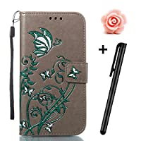 Samsung Galaxy S8 Plus Case,TOYYM Ultraslim PU Leather Flip Cover Wallet Bumper Case with [Card Slots] [Kickstand] [Magnet Closure],Colorful Butterfly and Flower Pattern Design Bookstyle Leather Protective Full Body Case Cover for Samsung Galaxy S8 Plus,Grey