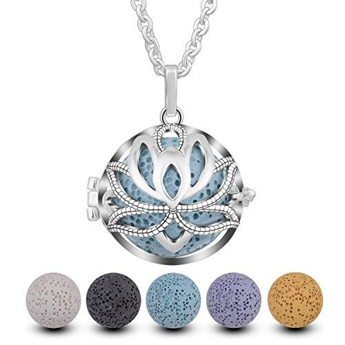 """INFUSEU Aromatherapie Parfüm ätherisches Öl Diffusor Frauen Halskette, Lotus klassischen Anhänger mit 5 Lava Steinen & Kette 24\"""""""