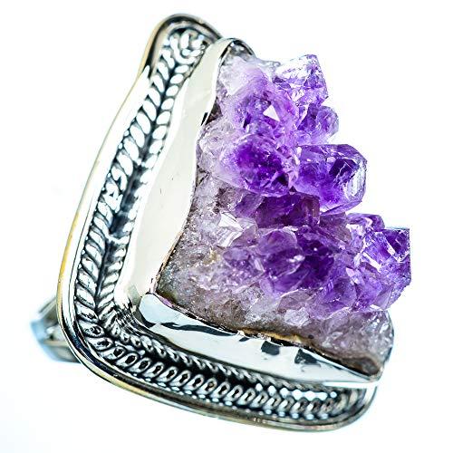 Amethyst Crystal, Amethyst Kristall 925 Sterling Silber Ring 9