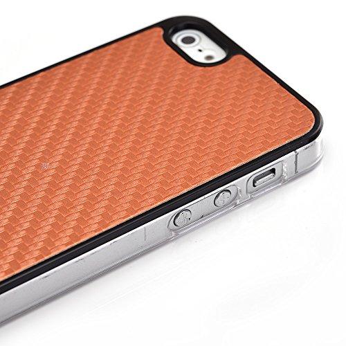 Kroo PC Rigide Shell Housse Coque Étui pour Apple iPhone 5/5S Multicolore - noir Orange - orange