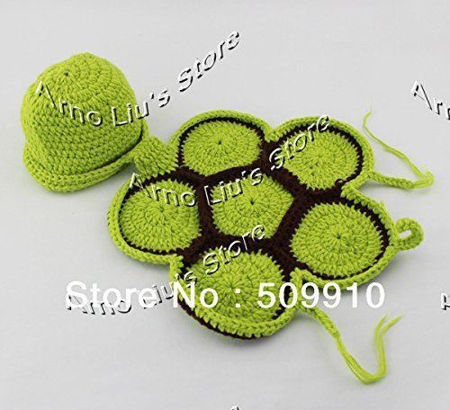 23% OFF on Generic Army Green   Green Turtle Baby Hat with Cape Set  Children Photography Props Newborn Baby Crochet Animal Beanie Costume Set  H022 on Amazon ... 6a807e5ed01b
