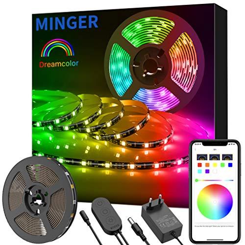 Striscia Led Colore da Sogno con APP, Minger 5m Luci Musicali a LED Strip Sync a Luce Corda 5050 RGB Impermeabile Nastri Led Illuminazione a Strisce Flessibile per Interni /Est