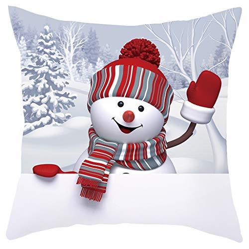 Lunule Navidad Funda de Almohada de Sofá Navideño Funda de Cojín 3D Snowman Funda de Almohada Decorativa...