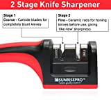 from SunrisePro Professional Chefs Choice, Premium Two Stages Manual Knife Sharpener, Perfect For Sharper Knife Edge With Anti Slip Base, Red, By SunrisePro Model SSKS-1