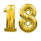 OC Balloons Luftballon 18Jahre, Zahl, Farbe Gold, Höhe 100cm, für Geburtstagsparty, Helium