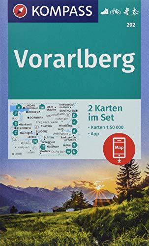 Vorarlberg: 2 Wanderkarten 1:50000 im Set inklusive Karte zur offline Verwendung in der KOMPASS-App. Fahrradfahren. Skitouren. Langlaufen. (KOMPASS-Wanderkarten, Band 292)