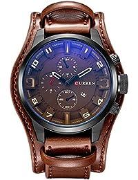 Montre homme cuir Zeiger Montre pour homme à quartz analogique bracelet en cuir Montre homme cuir marron Montre pour homme Sports Marron Noir avec fonction date