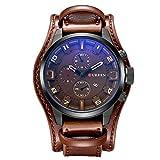 Herren Uhr ZEIGER Analog Quarz Leder Armbanduhr Braun Schwarz Herrenuhr mit Datum Funktion (Dunkelbraun)